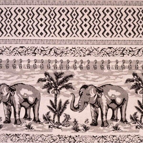 szovetnagyker.hu Klasszikus elefánt mintázatú fehér zsenília bútorszövet